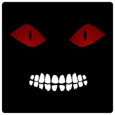 Illustration Face of Demon in Darkness