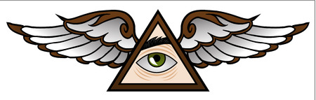 illuminati: Funny symbol of the Illuminati in cartoon style