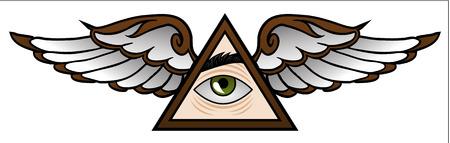 Funny symbol of the Illuminati in cartoon style