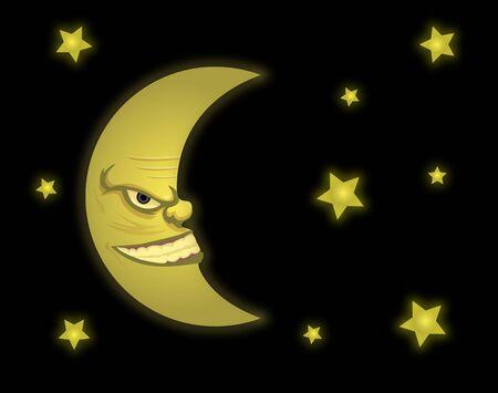 Vector illustration of moon profile Çizim