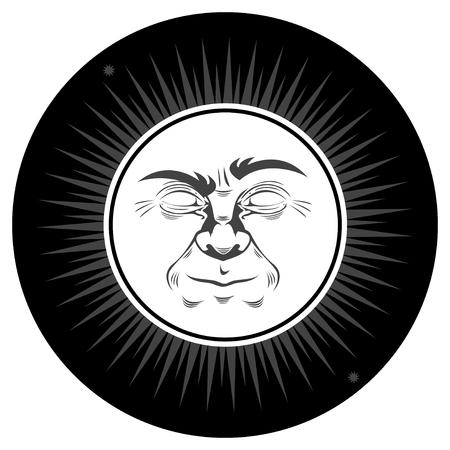 illustration of retro full moon