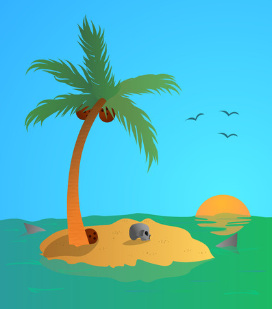 rock salt: Vector illustration of Desert island