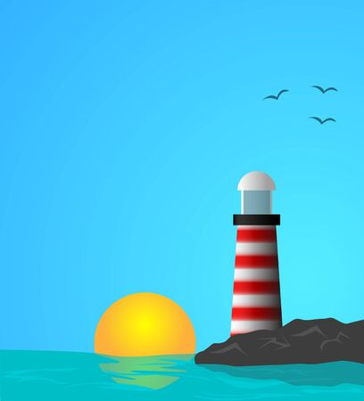 river rock: Vector illustration of lighthouse on the middle of the sea