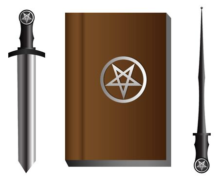 pentacle: Magic accessories on isolated background