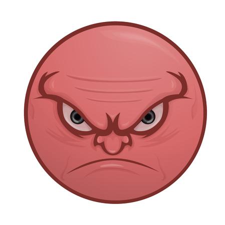 doleful: Illustration of nasty, vicious face