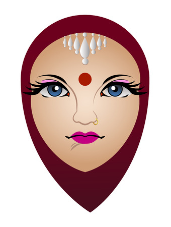 Vector Illustration Of Hinduism Woman Çizim