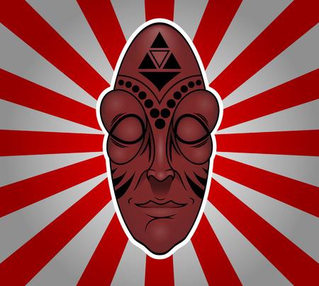 Vector colorful african mask Illustration Çizim