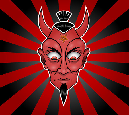 Illustration of a Devil head with long hair Çizim