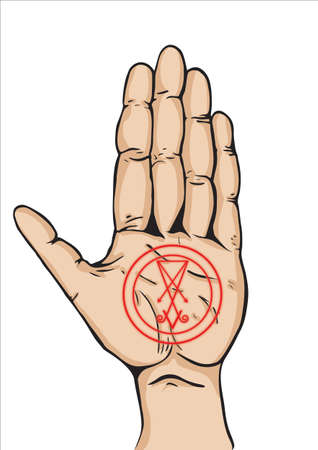 Left hand with the Lucifer sigil