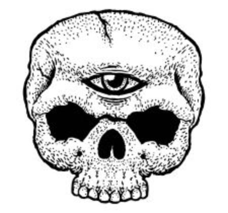 Third Eye Of The Skull on plain background.