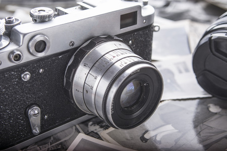 Retro photography and old photo camera.