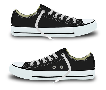 Illustration of black trainers with the possibility of quick color change Çizim