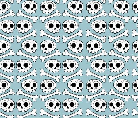 Pattern with skeleton fot kids and hallopween. Skull and bones on a background with variable colors