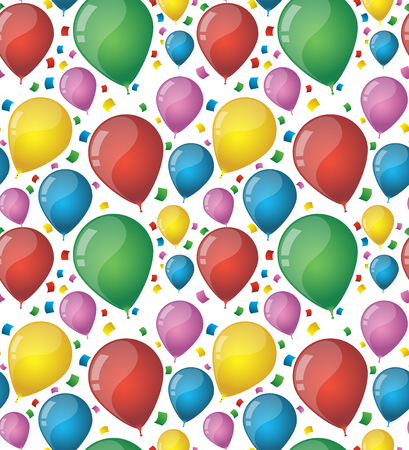 A Birthday pattern design with colorful realistic balloons. Çizim