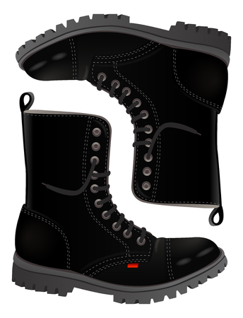 Black realistic rock and metal fans boots