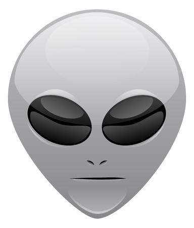 A gray alien vector head for website use Çizim