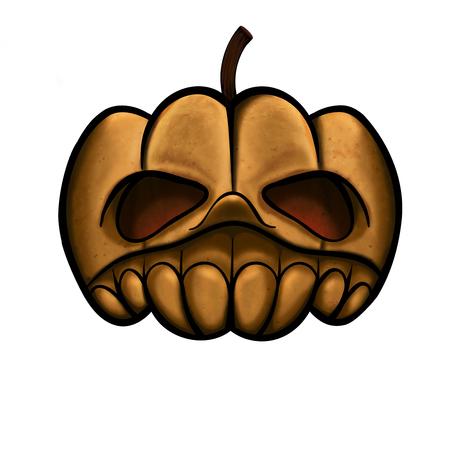 Pumpkin head, illustration with texture.  Great illustration object to use on Halloweeen