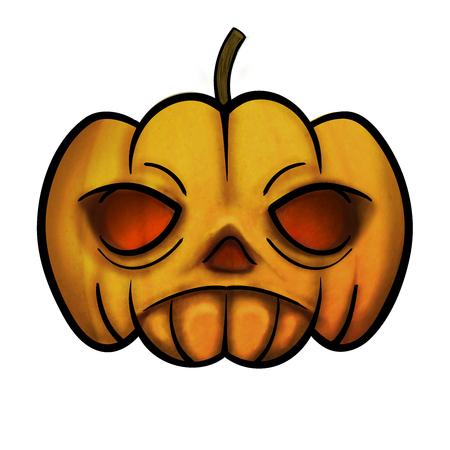 Pumpkin head, illustration with texture.  Great illustration object to use on Halloweeen.