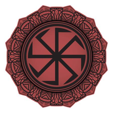 Symbol of the Slavic god representing the sun, decorated with a mini mandala.
