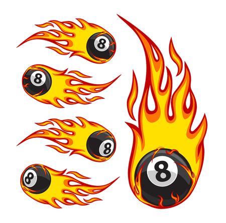Vector illustration of a billiard ball in fire Ilustração