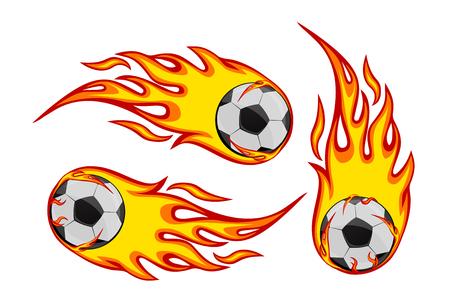 Set of Soccer Ball  on fire