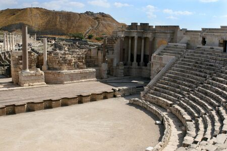 These ruins of an ancient theatre are at Beth-Shean National Park, Israel.