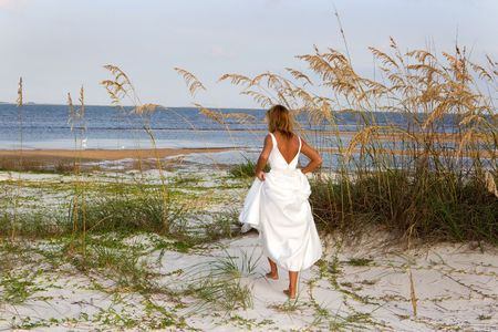 A woman in a bridal gown walks through sea oats to get to the beach. Stock Photo - 4068546