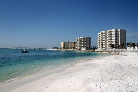 Highrise condos line the beach in Destin, Florida. Stock Photo