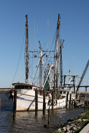 Shrimp boats docked at Apalachicola, FL. Stock Photo - 4202794