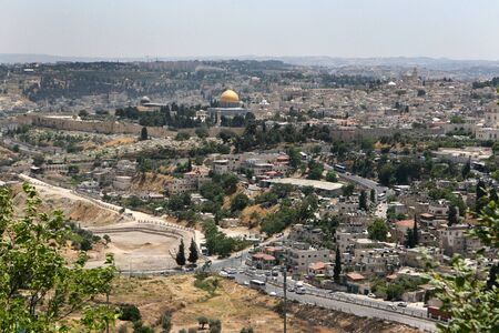 epicenter: The Holy City of Jerusalem, Israel, is the world epicenter for several religions including Christian, Jewish and Islam faith.   Stock Photo