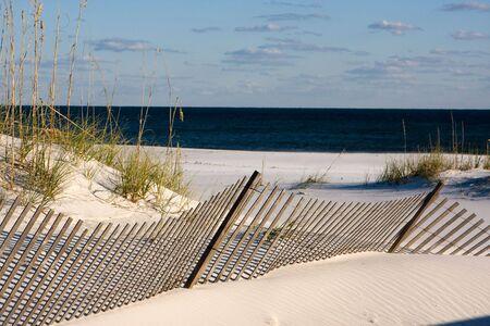 Sand clôtures le long de la côte utiliser la puissance du vent à la construction de dunes et de promouvoir la croissance de la mer le long de l'avoine dans la côte du Golfe Pensacola, en Floride. Banque d'images - 4296563