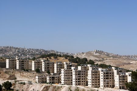 jewish home: Newly constructed apartments along a hilltop in the West Bank of Israel.