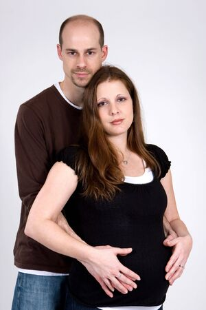 Young pregnant woman and her husband Stock Photo