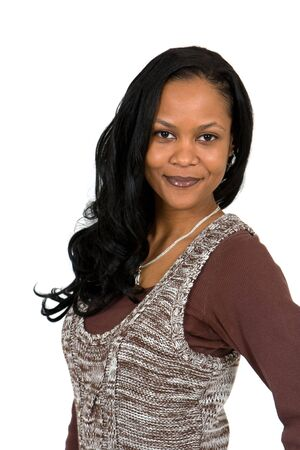 positive attitude: A confident young African American business woman gives off a positive attitude.