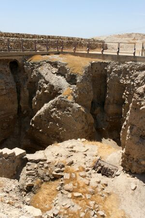 Excavated ruins of the ancient city of Old Jericho, Israel. 스톡 콘텐츠