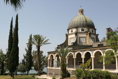 preached: The Church Of The Beatitudes was built on a hill overlooking the Sea of Galilee and is the accepted site where Jesus preached the Sermon on the Mount. Stock Photo