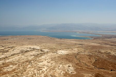 A westward view of the Dead Sea, Israel as seen from Masada National Park.  스톡 콘텐츠