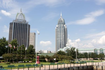Mobile, Alabamas skyline looking northwest from the Cooper Riverside Park on the Mobile River. Stock Photo