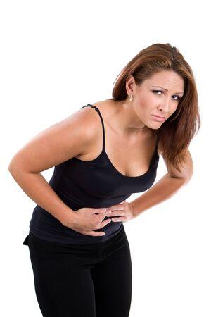chorowity: Kobieta zakrętów nad z skurczami żołądka.