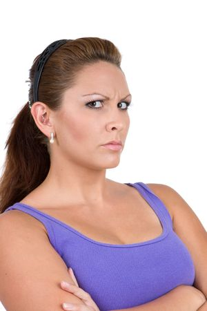 pretentious: Adult caucasian woman glares, giving off an mean attitude. Stock Photo