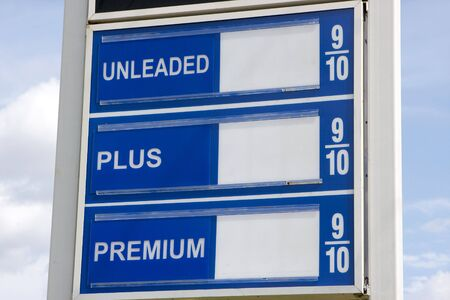 fill fill in: Sign that usually shows price of gas with no numbers. Fill in your own prices. Stock Photo