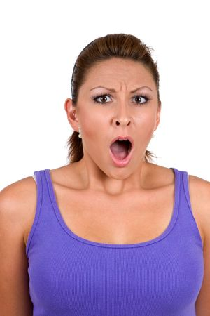 Woman has shocked expression on her face.