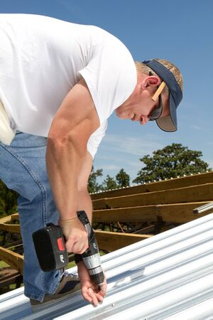 rafters: Roofer construction worker uses a battery powered screwgun to fasten sheets of metal roofing to the rafters on top of a barn.