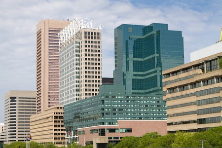 Office buildings fill the downtown district of Baltimore, Maryland.