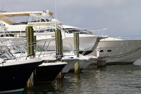 Row of luxury yachts and fishing charter boats line the docks. photo