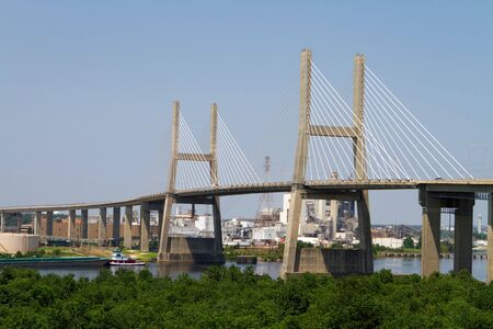 mobile: Cochrane-Africatown Bridge, a cable stayed suspension bridge, crosses the Mobile River in Mobile, Alabama.