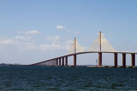 Sunshine Skyway Bridge is a suspension bridge which crosses the mouth of Tampa Bay, Florida. Banco de Imagens - 8590464