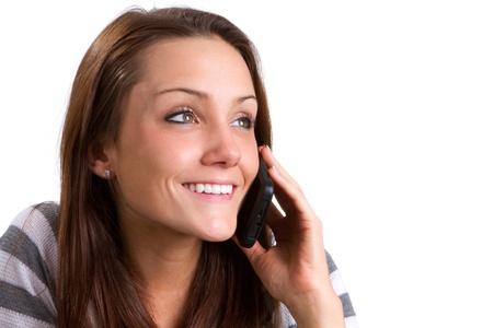 conversa: Conversaciones de joven feliz en su celular.