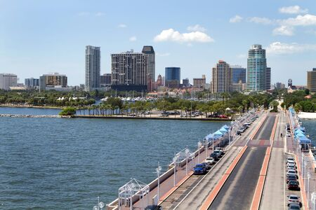 central: St. Petersburg, Florida cityscape as seen from the pier.