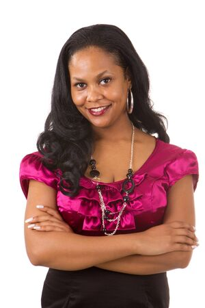 African American professional looking business woman with crossed arms smiles. Stock Photo - 10108609